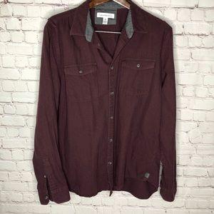 Calvin Klein Burgundy Maroon Button Up Shirt